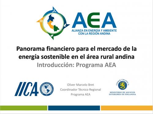 Panorama financiero para el mercado de la energía sostenible en el área rural andina Introducción Programa AEA_Foto_Destacada