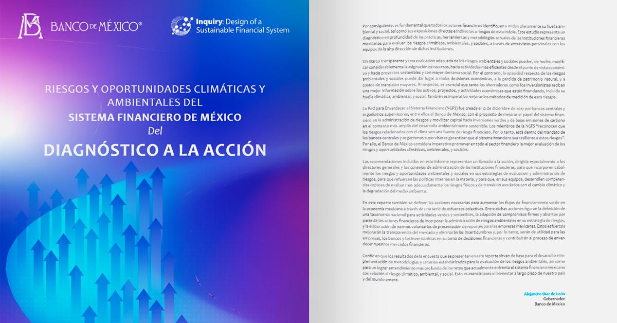 Riesgos y oportunidades climáticas y ambientales en el sistema financiero de México: del diagnóstico a la acción